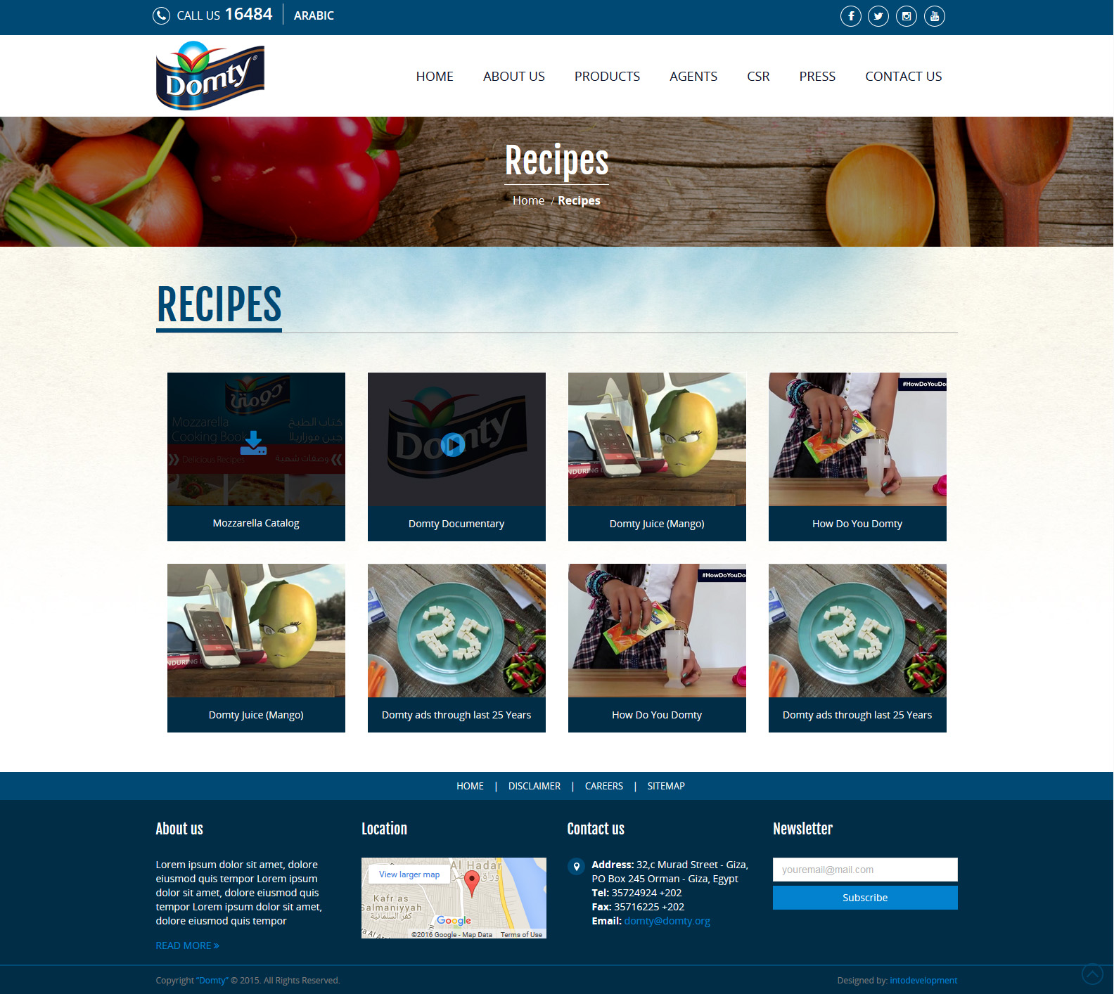 Domty-Recipes-web design Egypt-web design Doha